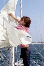 Flaking the sail at anchor